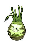 Healthy fresh cartoon kohlrabi vegetable Royalty Free Stock Photography