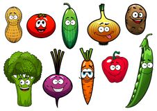 Healthy fresh cartoon vegetables characters Stock Image