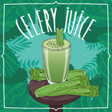 Healthy fresh celery juice with vegetable stalks Stock Photos