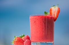 Healthy fresh  delicious homemade raspberry and strawberry smoot Royalty Free Stock Photography
