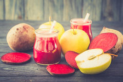 Healthy fresh detox beetroot and apple juice in glass Royalty Free Stock Images