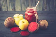 Healthy fresh detox beetroot and apple juice in glass Stock Photography