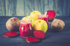 Healthy fresh detox beetroot and apple juice in glass Royalty Free Stock Photography