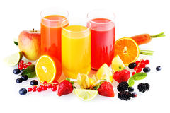 Healthy fresh drinks from fruit and vegetables royalty free stock photos