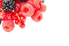Healthy fresh food berries group. Macro shot of fresh raspberries, blackberries and red currant isolated on white background. Free. Space for your text royalty free stock image