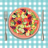 Healthy fresh food in a plate and vegetables on a table cloth ba royalty free illustration