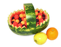 Healthy fresh fruit basket Stock Images