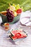 Healthy fresh fruit dessert at a picnic Stock Photos