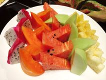 Healthy Fresh Fruits in a Plate Royalty Free Stock Photos