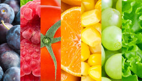 Healthy fresh fruits and vegetables. Background stock images