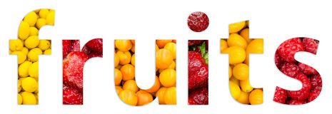 Healthy Fresh Fruits Word Text. Concept stock illustration