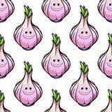 Healthy fresh garlic seamless pattern Royalty Free Stock Image