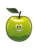 Healthy fresh green cartoon apple. With a single leaf and happy smiling face, vector illustration isolated on white Stock Photography