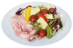 Healthy Fresh Ham Salad with a Mixed Salad Royalty Free Stock Images