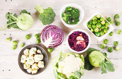 Healthy Fresh Ingredients on Wooden Table Royalty Free Stock Image