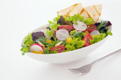 Healthy fresh mixed salad and crisp flatbread. Healthy fresh mixed salad and crisp freshly baked flatbread with leafy green lettuce, radish, sweet pepper amd Stock Photos