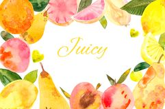 Healthy fresh natural organic fruits diet colorful background banner stock illustration