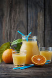Healthy fresh orange juice on the woodent table Stock Photo