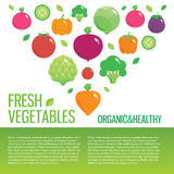 Healthy fresh organic food vector background with Stock Photos