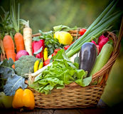 Healthy, fresh organic food. In wicker basket Royalty Free Stock Photo