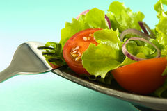 Healthy fresh salad on blue background Royalty Free Stock Photography