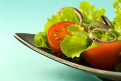 Healthy fresh salad on blue background Stock Photo