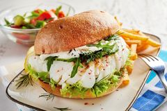 Healthy fresh seafood burger with fish fillet royalty free stock image