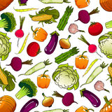 Healthy fresh seamless vegetables pattern Stock Images