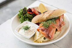 Healthy fresh smoked salmon sandwich with egg and sour cream Royalty Free Stock Photo