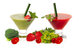 Healthy Fresh Smoothies with Fruit and Vegatables Isolated on Wh Stock Image