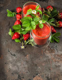 Healthy fresh strawberry smoothie. Detox food concept Royalty Free Stock Photo