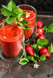 Healthy fresh strawberry smoothie. Vintage style still life Stock Photography