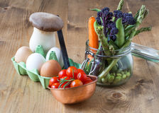 Healthy Fresh tomatoes cherryes with eggs, mushrooms and vegetab Stock Images