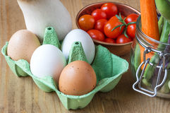 Healthy Fresh tomatoes cherryes with eggs, mushrooms and vegetab Stock Photography