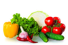 Healthy fresh vegetables isolated Royalty Free Stock Photos