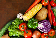 Healthy Vegetables on a Wooden Table Stock Images