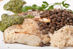 Healthy Fried Tilapia Fish. With Lentils and Cous Cous with Mint Sauce stock photo