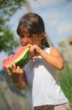 Healthy fruit appetite (girl portrait) Stock Image