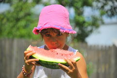 Healthy fruit appetite (girl portrait) Royalty Free Stock Photo