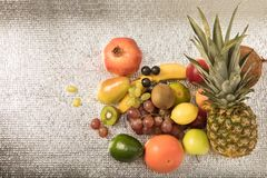 Assortment of exotic fruits isolated on white. Healthy fruit background ; Studio photo of different fruits on white bright background , high resolution product Stock Photography
