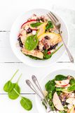 Healthy fruit and berry salad with fresh apples, cranberries, walnuts, italian ricotta cheese and spinach leaves. Delicious and nu. Tritious diet dish for Stock Photography