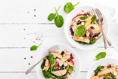 Healthy fruit and berry salad with fresh apples, cranberries, walnuts, italian ricotta cheese and spinach leaves. Delicious and nu. Tritious diet dish for Royalty Free Stock Photo