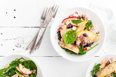 Healthy fruit and berry salad with fresh apples, cranberries, walnuts, italian ricotta cheese and spinach leaves. Delicious and nu. Tritious diet dish for Royalty Free Stock Photography