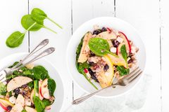 Healthy fruit and berry salad with fresh apples, cranberries, walnuts, italian ricotta cheese and spinach leaves. Delicious and nu. Tritious diet dish for Stock Image