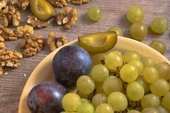 Healthy fruit breakfast - one pate, uniform lighting stock photography