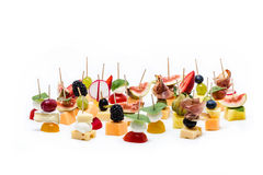 Healthy fruit and cheese canapes. Healthy and fresh fruit and cheese canapes Royalty Free Stock Image