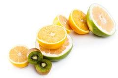 Healthy fruit food citrus slice orange, lemon on white Royalty Free Stock Images