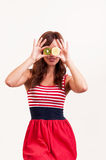 Healthy fruit, funny woman holding kiwi and lemon fruit for her e Royalty Free Stock Photo