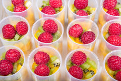 Fruit salad in push up cake forms Royalty Free Stock Photo