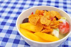 Healthy fruit salad topped with cereal Royalty Free Stock Photos